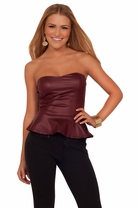 Junior Strapless Peplum Tween Leatherette Bustier Biker Flare Party Teen Top