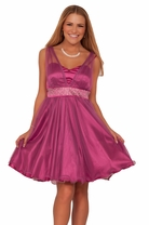 Junior Sweetheart Mesh V-neck Strap Beaded Empire Waist Tulle Prom Mini Dress