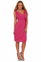 Junior Sweetheart V-Neck Empire Draped Flowy Evening Cocktail Bridesmaid Dress