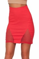 Knee High Sexy Mesh Panel Slit Fitted Tight Classy Fashion Trend Pencil Skirt