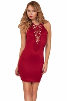 Lace Crochet Panel Deep V Neckline Sleeveless Back Cutout Mini Cocktail Dress