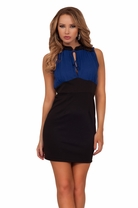 Lace Sleeves Bow Keyhole Mini Fitted Bodycon Color Block Cocktail Party Dress