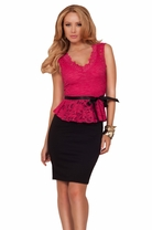 Lace V-Neck Peplum High Contrast Knee Length Solid Pencil Bottom Evening Dress