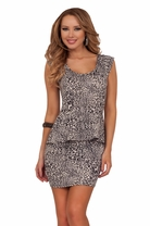 Leopard Printed Bodycon Fitted Peplum Cocktail Evening Club Party Dress