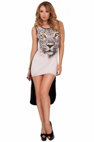 Lioness High Low Causal Animal Graphic Tee Edgy Stretchy Causal Shirt Dress