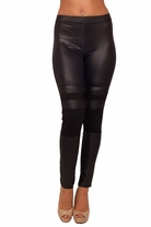 Long Black Glitter Rhinestone Leatherette Tight Skinny Fitted Trendy Leggings