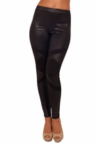 Long Black Rhinestone Liquid Leatherette Tight Skinny Fitted Trendy Leggings