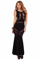 Long Full Length Maxi Sexy Mesh Cutout Panel Formal Event Sleeveless Party Dress