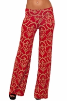 Long Gaucho Boho Flair Patterned Low Waist Stretch Casual Trendy Chic Pants