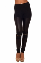 Long Gold Zipper Liquid Leatherette Tight Skinny Fitted Trendy Stretchy Leggings