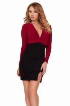 Long Sleeve Cocktail Formal Elegant Classic Two Tone V Neckline Sexy Dress