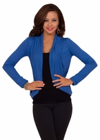 Long Sleeve Fitted Jersey Waist Length Stretch Bolero Shrug Casual Cardigan Wrap
