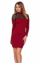 Long Sleeve Mesh Panel Bodycon Collar Cocktail Sexy Cocktail Two Tone Dress