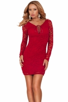 Long Sleeve Sheer Lace Up Bust Fitted Bodycon Evening Club Party Cocktail Dress