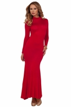 Maxi Fitted Flare Maxi Casual Classic Long Women Turtleneck Long Sleeves Dress