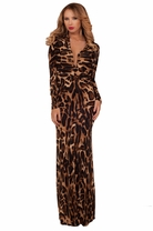 Maxi Full Length Leopard Reversible Party Cocktail Sexy Deep V Neck Dress