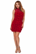 Mesh Panel Rose Texture Cocktail Elegant Classic Party Formal Sexy Dress