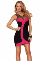 Mesh Sleeveless Sweetheart High Contrast Retro Inspired Fitted Party Short Dress