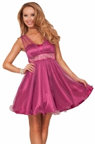 Mesh V-neck Strap Sweetheart Empire Waist Princess Style Crystal Prom Mini Dress