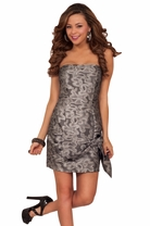 Metallic Design Strapless Foil Bow Evening Cocktail Mini Fitted Dress