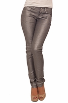 Metallic Silver Form Fitting Full Length Skinny Chic Holiday Trendy Jeans