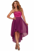 Mid-Long Spaghetti Strap Empire Waist Rhinestone Party Bridesmaid Flowy Dress