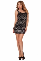 Mini Black Sleeveless Chevron Print Sequins Bodycon Party Fitted Glamorous Dress