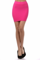 Mini Fitted Bodycon Ribbed Tight Solid Bandage Party Trend Fashion Skirt