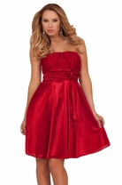 Mini Short Empire Waist Party Elegant Formal Pleated Bustier Sweetheart Dress