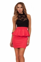 Mock Neck Lace Sleeveless Fitted Peplum Cocktail Evening Club Party Dress