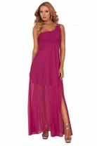One Shoulder Empire Waist Crystal Beads Tulip Style Bridesmaid Maxi Long Dress