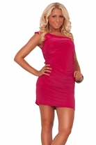 One Shoulder Ruched Fitted Silky Smooth Stretchy Party Evening Short Mini Dress