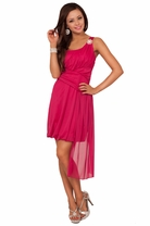 One Shoulder Style Drape Bubble Skirt Sash Accent Evening Bridesmaid Party Dress