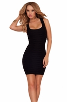 One Size Seamless Bodycon Sleeveless Round Neck Scoop Sexy Short Fitted Dress
