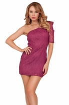 One Sleeve Ruched Shoulder Lace Mini Cocktail Formal Sexy Classy Party Dress