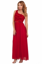 One Strap Rose Bustier Sequins Empire Waist Sheer Flowy Maxi Long Party Dress