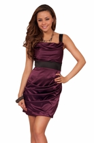 Passion Plum Purple Satin Draped Sexy Cocktail Elegant Evening Party Dress