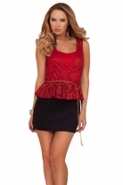 Peplum Gold Belt Mini Sleeveless Lace Crochet Cocktail Work Party Dress
