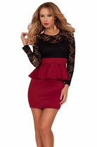 Peplum Lace Pencil Fitted Skirt Party Cocktail Sexy Long Sleeve Classy Dress