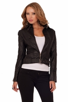 Rocker Chic Style Faux Leather Buckle Zipper Sleeve Button Fitted Moto Jacket
