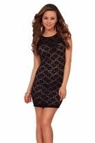 Romantic Lace Overlay Mini Cocktail Sexy Night Party Club Celebration Dress