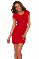 Round Scoop Neckline Sexy Short Sleeve Fitted Tight Cute Fashion Sweater Dress