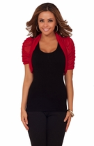 Ruched 3/4 Sleeves Party Casual Business Sophisticated Fitted Shrug Bolero