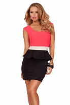 Scoop Neck Cap Sleeve High Contrast Peak-a-boo Back Peplum Party Short Hot Dress