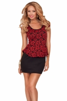 Scoop Neck Cap Sleeve Lace Peplum Fitted Sophisticated Casual Party Mini Dress