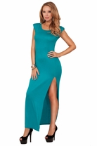 Scoop Neck Cap Sleeve Shoulder Pad Peak-a-boo Back Side Slit Maxi Long Hot Dress
