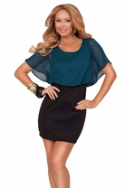 Scoop Neck Chiffon Blouson Bat Wing Sheer Sleeve High Waist Pencil Mini Dress