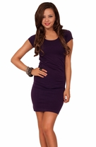 Scoop Neck Fitted Seamless Bodycon Stretch Short Sleeved Ripped Back Mini Dress