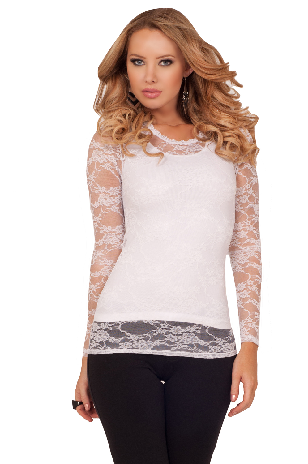 Scoop Neck Fitted Sheer Long Sleeve Stretch Floral Lace Casual See ...