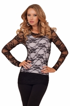 Scoop Neck Fitted Sheer Long Sleeve Stretch Floral Lace Casual See-through Top